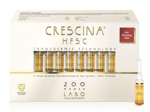 CRESCINA TRANSDERMIC RE-GROWTH HFSC plaukų ataugimą skatinančios ampulės MOTERIMS, 200 stiprumo