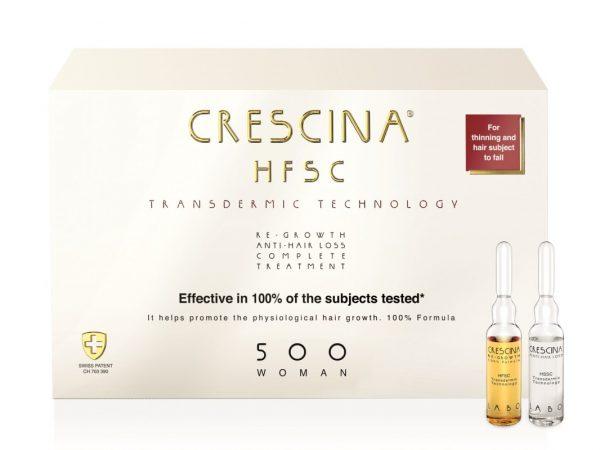CRESCINA TRANSDERMIC ampulių kompleksas plaukų slinkimo stabdymui ir plaukų atauginimui MOTERIMS, 500 stiprumo
